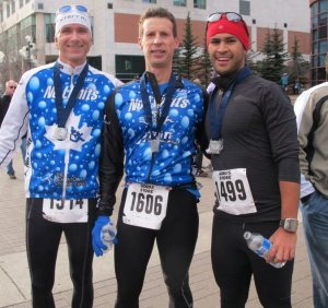Coach Todd, Ian and raf at the finish of the last chance half marathon